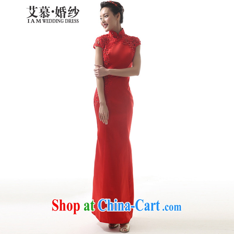 The AIDS 2015 new wedding Rainbow animated red short lace Satin Chinese red dress uniform toasting red L