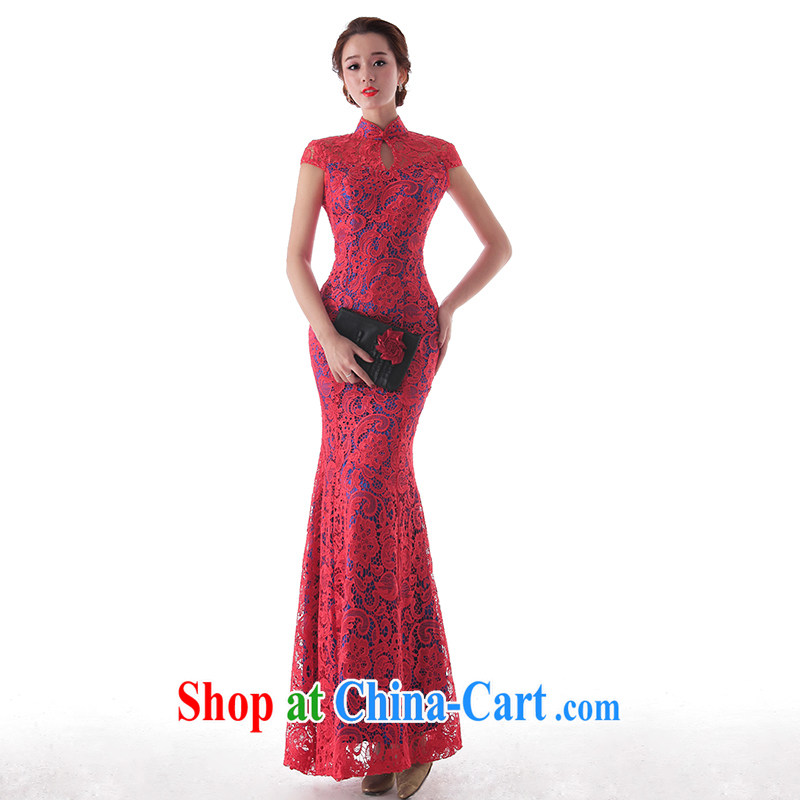 The AIDS 2015 new wedding blue warm red elegant improved version lace dresses wedding dress toast serving red L