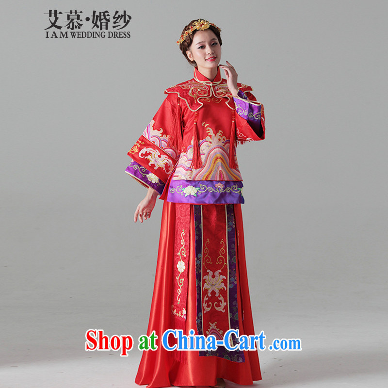 The AIDS 2015 new wedding definition and wind Chinese bride costumes Cyd Ho and the marriage-su Wo service cheongsam dress red XL