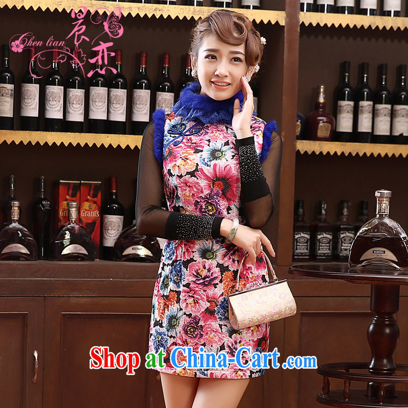 Early Morning, 2014 new Autumn and Winter Fashion cheongsam improved daily retro folder cotton cheongsam dress rabbit hair short, Purple XXL