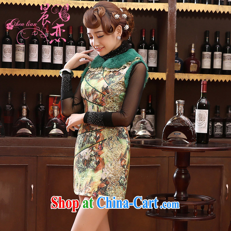Early Morning, 2014 new Autumn and Winter Fashion cheongsam improved daily retro folder cotton cheongsam dress rabbit hair short, green XXL