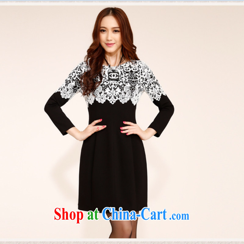 Summer 2014 new short-sleeved cultivating Chinese improved cheongsam dress short-sleeved lace dress long-sleeved beauty dresses black XXL