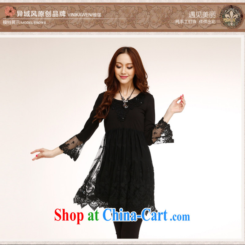 Counters are, Autumn 2014 new stylish beauty elegant embroidery improved lace style autumn 7 sub-cuff beauty graphics thin dresses black XL