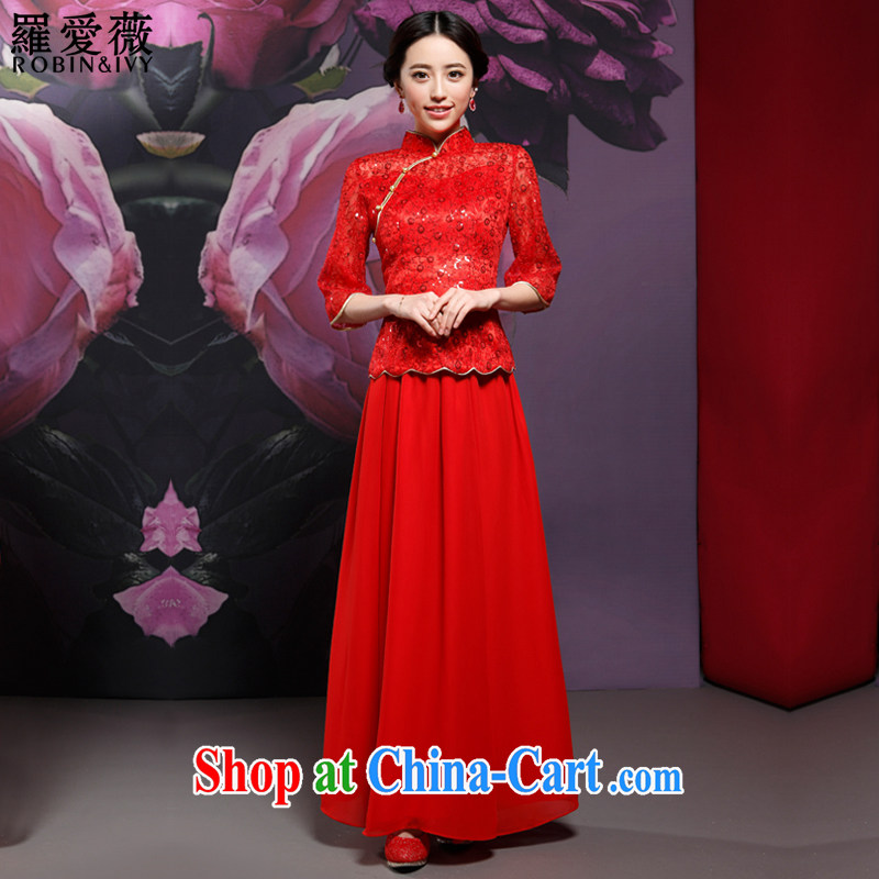 Love, Ms Audrey EU Yuet-mee, RobinIvy) New Chinese wedding ceremony clothing long sleeved qipao improved stylish bridal toast clothing cheongsam dress Q 14,717 red XL
