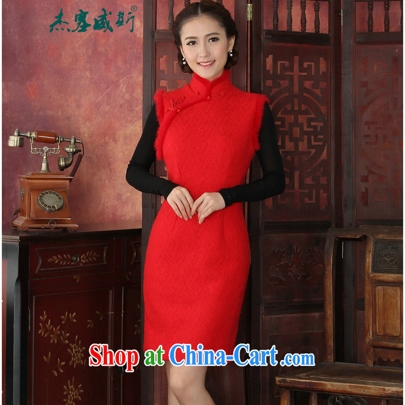 Jessup, autumn and winter clothing and stylish improved thick lace cheongsam rabbit hair manually tie elegant qipao dresses red XXL