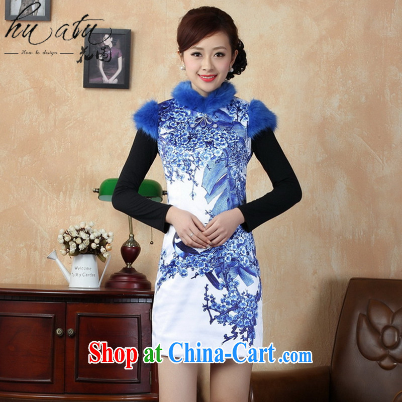 Take the Tang Women's clothes winter outfit New dresses, for gross for damask Chinese improved the cotton short cheongsam dress Blue on white 2 XL