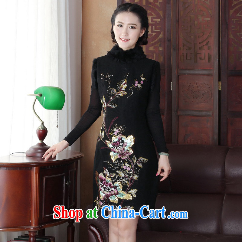 The cross-sectoral Windsor high-end water stingrays gross for 2014 new winter clothes retro thick so the embroidery vest cheongsam dress 3165 Y D XL 3