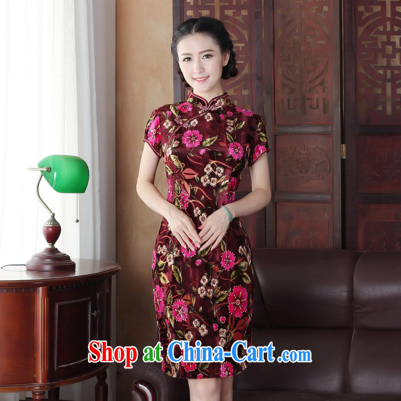 The Yee-sa 2015 summer classic Stylish retro floral three-dimensional Leisure Short cheongsam dress daily improved cheongsam 3157 Y B XL 3