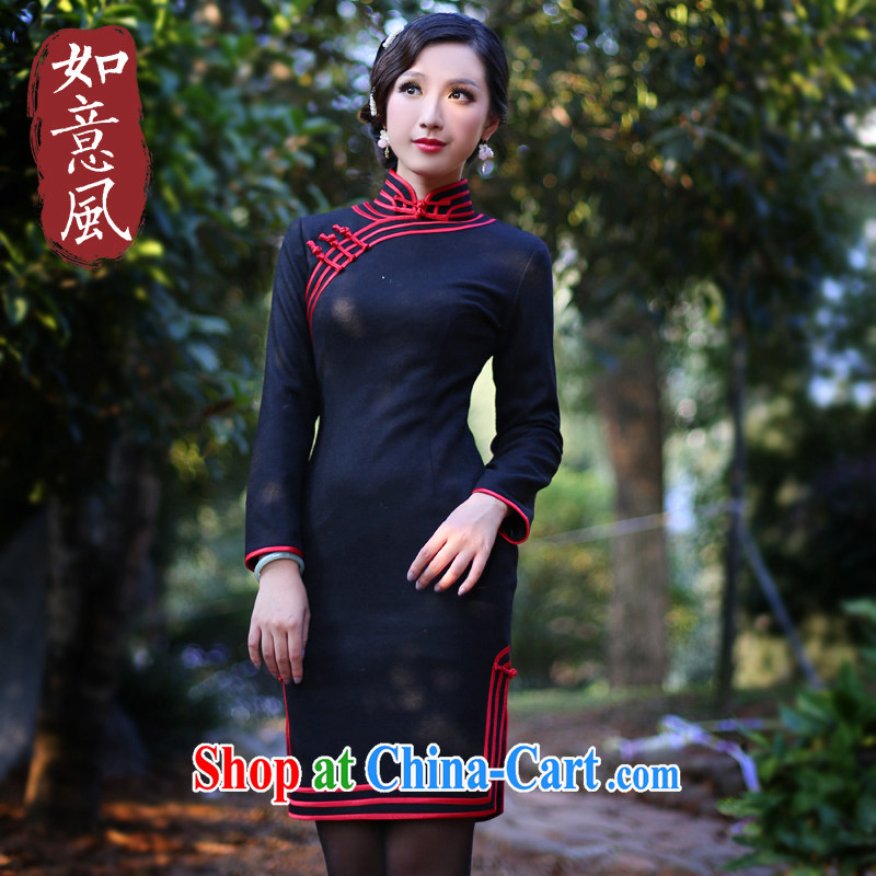 Unwind after the 2015 spring new Autumn with stylish retro improved temperament long-sleeved cheongsam dress 4101 black XXL