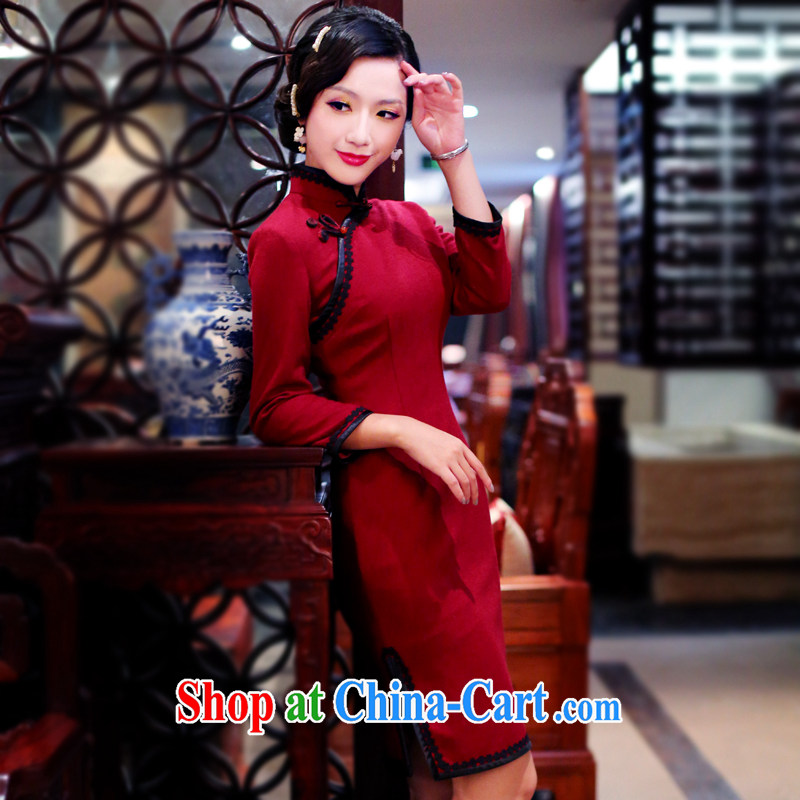 Unwind after the 2015 spring New Republic retro girl cheongsam improved daily long-sleeved qipao dresses 4102 4102 dark red XL