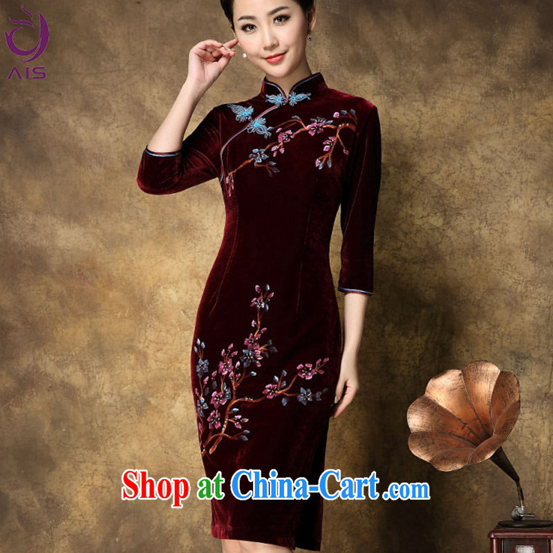 She made the 2014 spring and summer new gold velour hand-painted XL cultivating high-end your air Phillips, cheongsam dress red XXXL