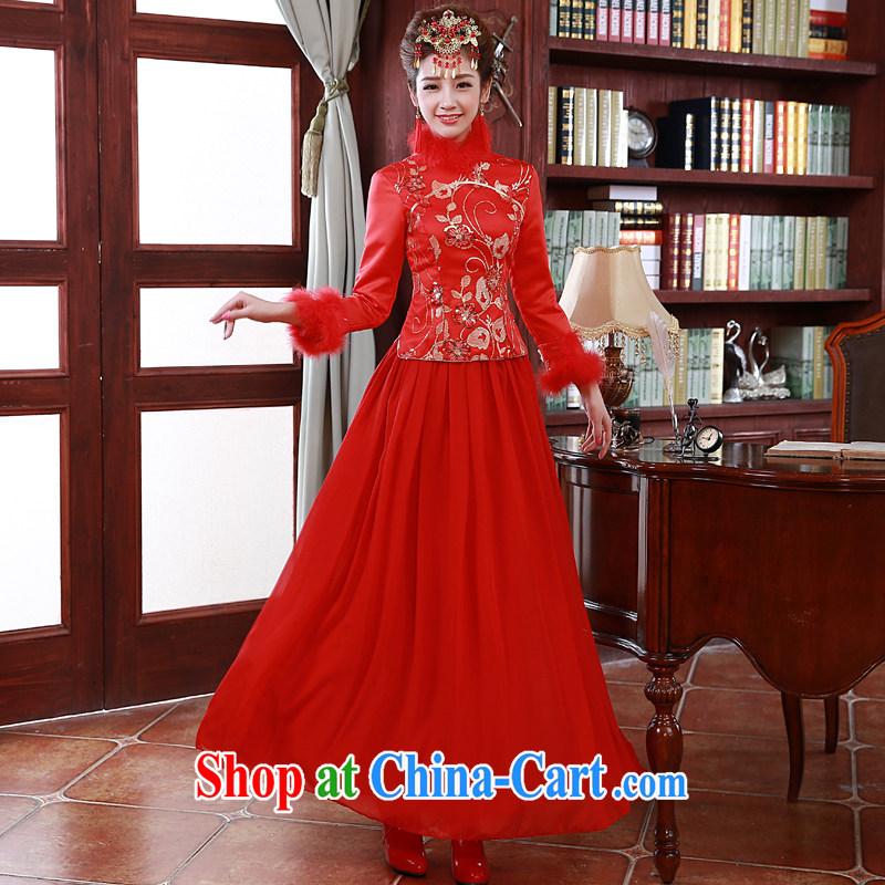 A good service is 2015 New Spring Summer bridal toast clothing wedding dress Chinese long-sleeved the cotton robes red 2 XL