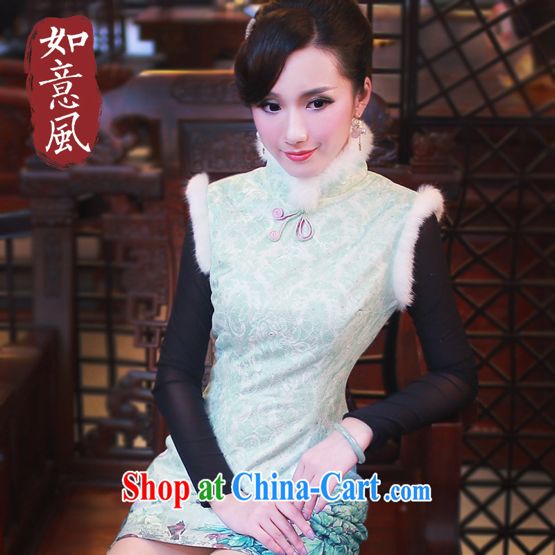 Unwind after the 2014 winter clothes new Stylish retro improved daily hair collar cheongsam dress 4813 4813 green XXL