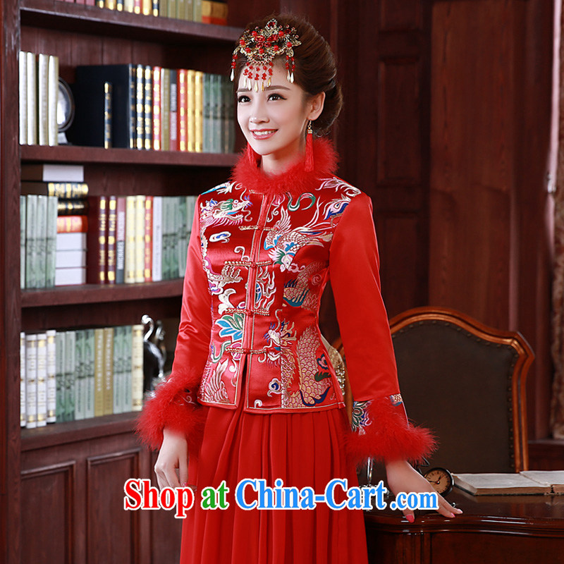 A good service is 2015 New Spring Summer bridal wedding dress long-sleeved Chinese bows clothing cheongsam red 2 XL
