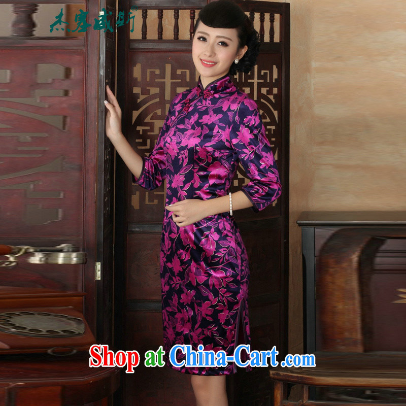 Jessup, new Ethnic Wind Women's clothes, wool, for manually for cultivating cheongsam dress purple XXXL