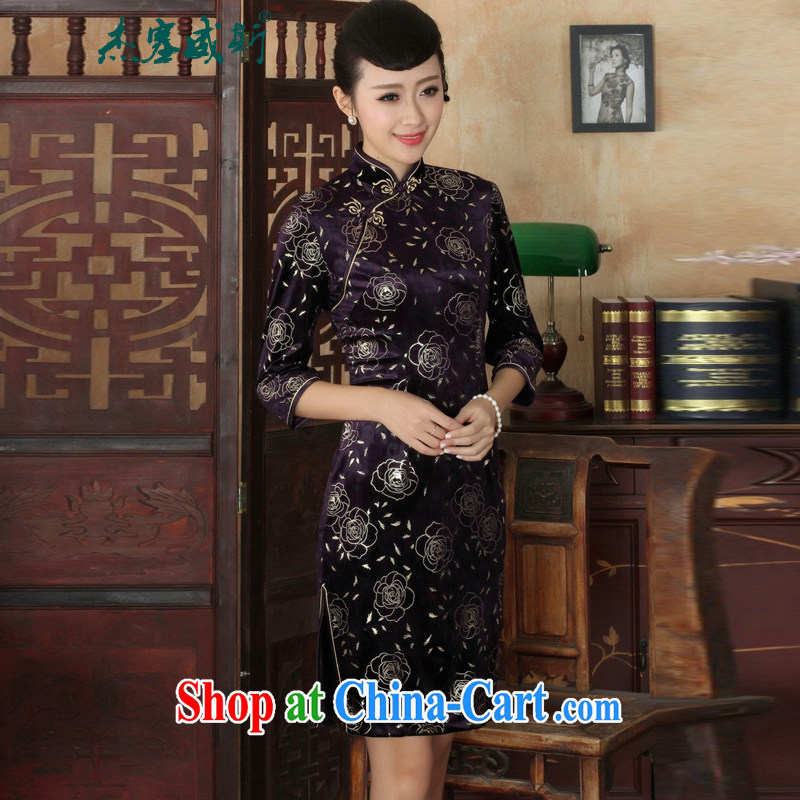 Jessup, new Chinese Ethnic Wind female, for manually tie the wool beauty 7 sub-cuff cheongsam dress as XXXL
