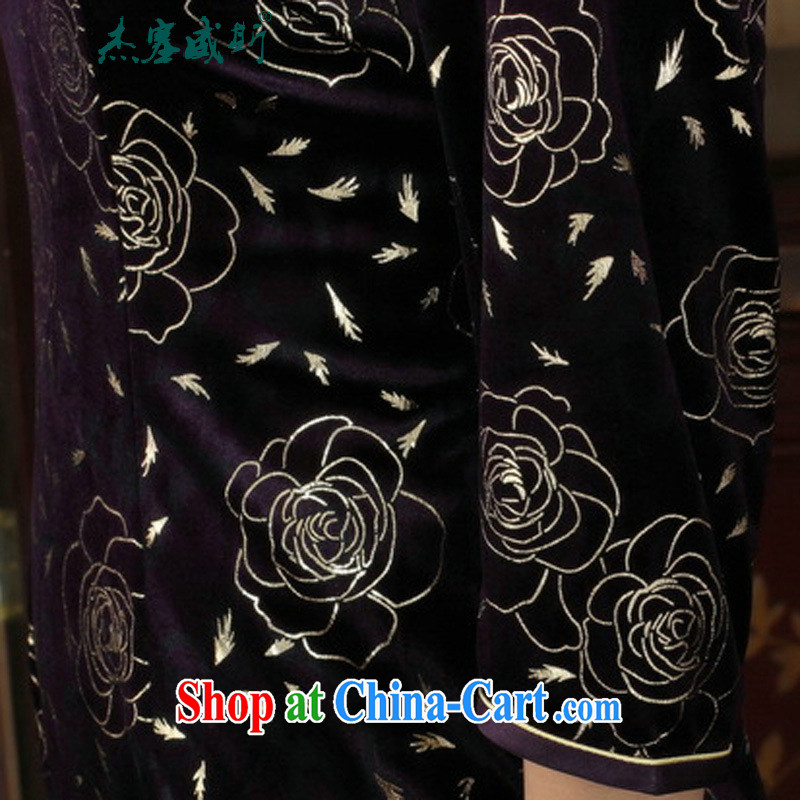Cheng Kejie, Wiesbaden, new Chinese Ethnic Wind female, for manually tie the wool beauty 7 sub-cuff cheongsam dress in figure XXXL, Jessup, qipao/Tang, and shopping on the Internet