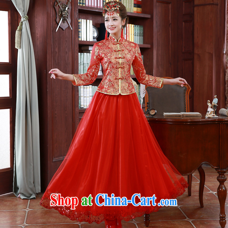 A good service is 2015 New red Chinese wedding dress toast serving long-sleeved dresses Spring Summer bridal red L