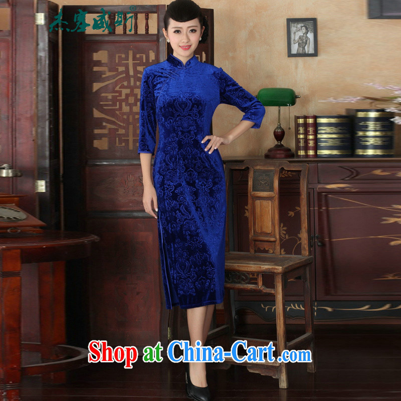 Jack Plug, new elegant solid color, collar-stretch the wool Sau San cheongsam dress royal blue XXL