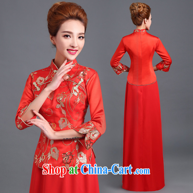 Ting Beverly served toast red long stylish bridal 2014 new wedding wedding dress female Chinese improved cheongsam dress red tailored