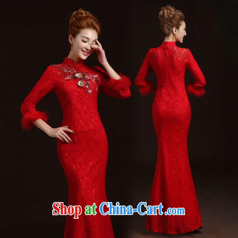 Ting Beverly 2014 new wedding dresses bridal toast clothing autumn and winter with long-sleeved red Lace Embroidery Chinese Dress skirt red tailored