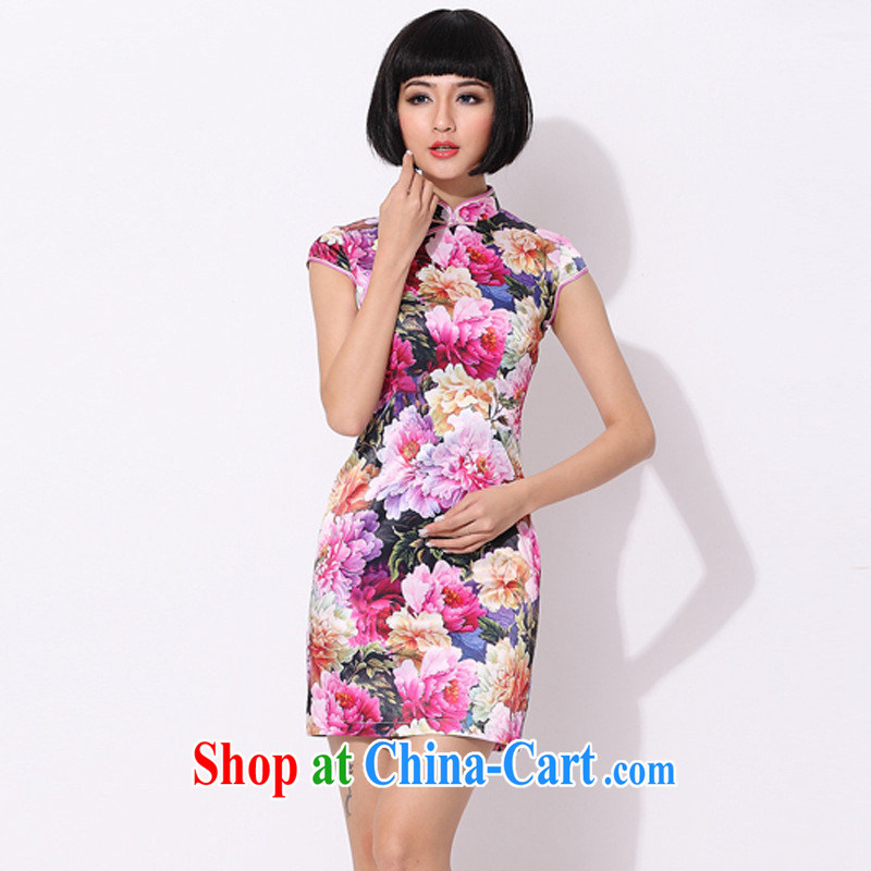 9 month dress * The summer improved stylish cotton cheongsam dress hand-tie short cheongsam pink L