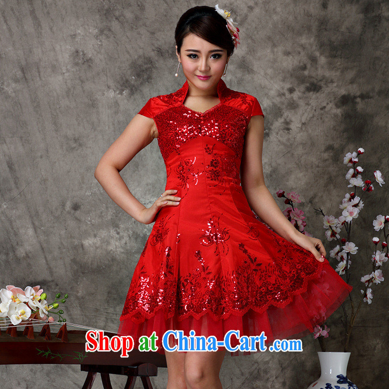September dress * bridal load serving toast wedding wedding dress short improved stylish wedding dresses red new Magenta M