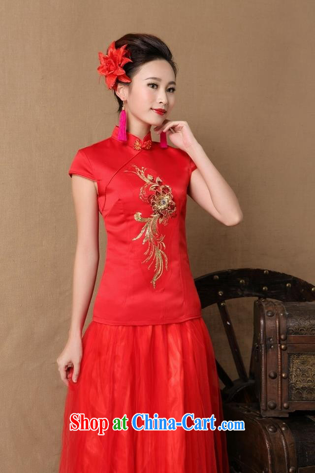9 month dress _ more new bride marriage ceremony cheongsam dress red long bows dress stylish red S
