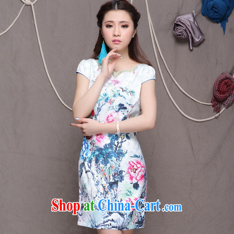 9 month dress * 2015 China wind National wind improved stylish commuter cultivating graphics thin cheongsam white S