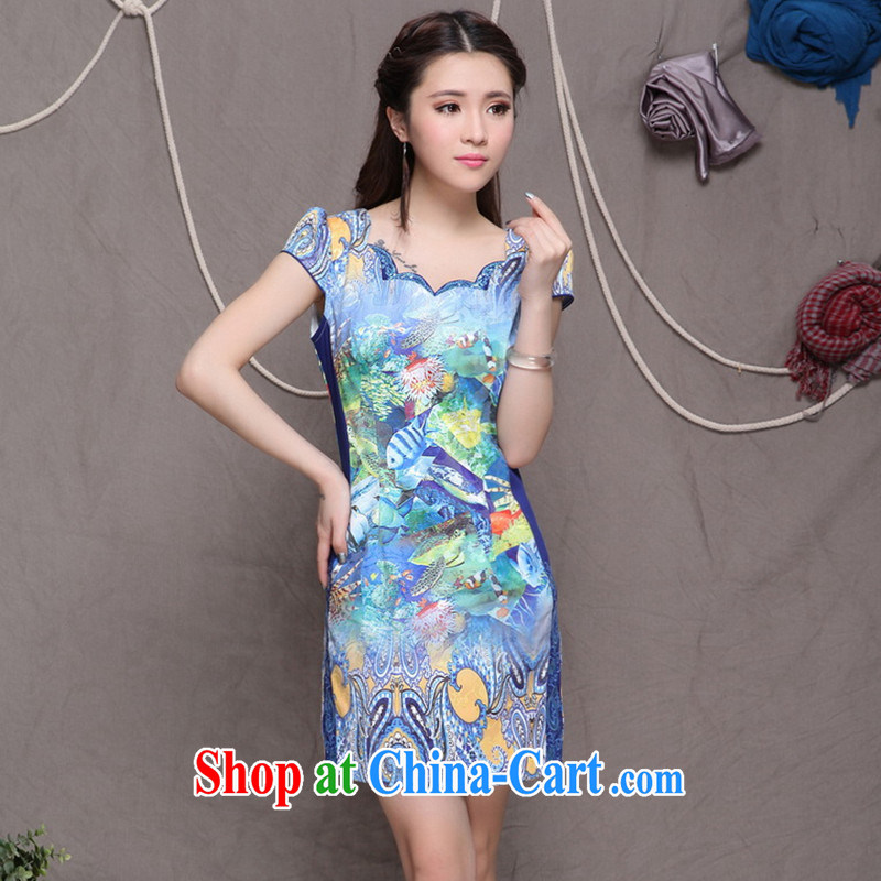 9 month dress * 2015 embroidered cheongsam high-end ethnic wind stylish Chinese qipao dress daily retro beauty graphics build cheongsam picture color L