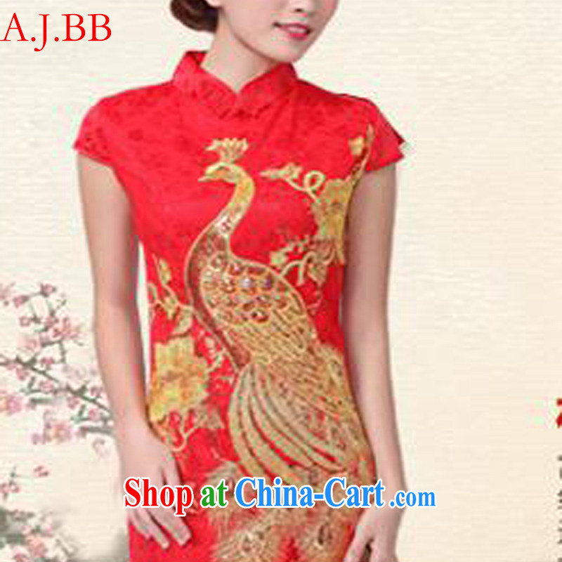 9 month dress * 2015 new show annual wedding dress bridal wedding retro improved red toast serving short cheongsam red S