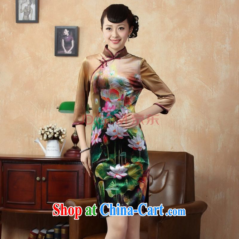 Uh, Ms. JOSEPH classic cheongsam dress dresses retro, for wool Lotus short cheongsam 7 cuff picture color XXL