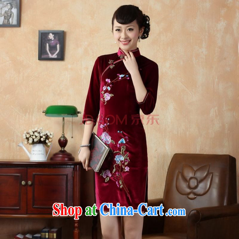 Uh, Ms. JOSEPH cheongsam dress dresses, for stretch the silk embroidered Phillips in short sleeves cheongsam aubergine XXL