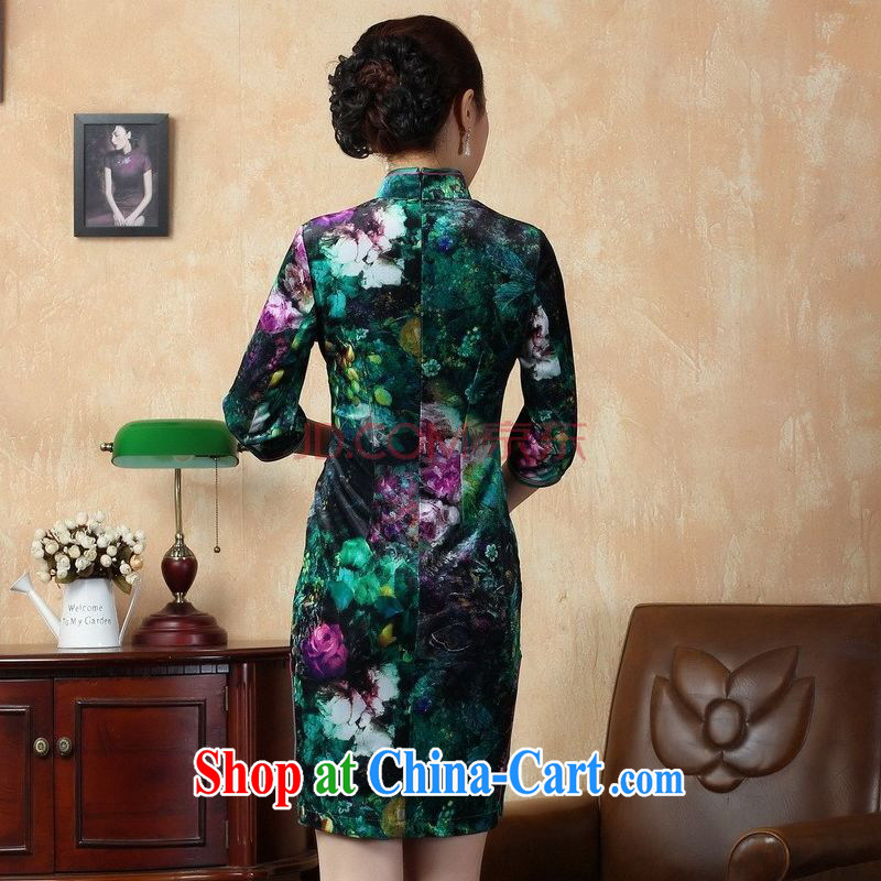 Joseph cotton retro style classic cheongsam dress stretch gold velour poster in short sleeves cheongsam picture color XXL