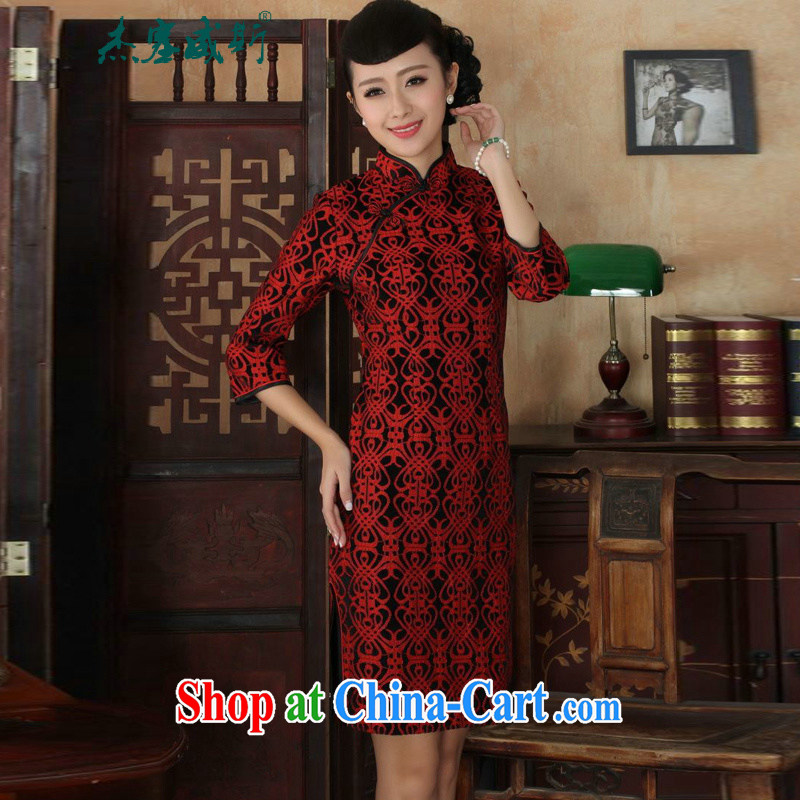 Cheng Kejie, Wiesbaden, new Ethnic Wind female, for manually tie lace gold velour Sau San Tong the cheongsam dress as shown XXXL