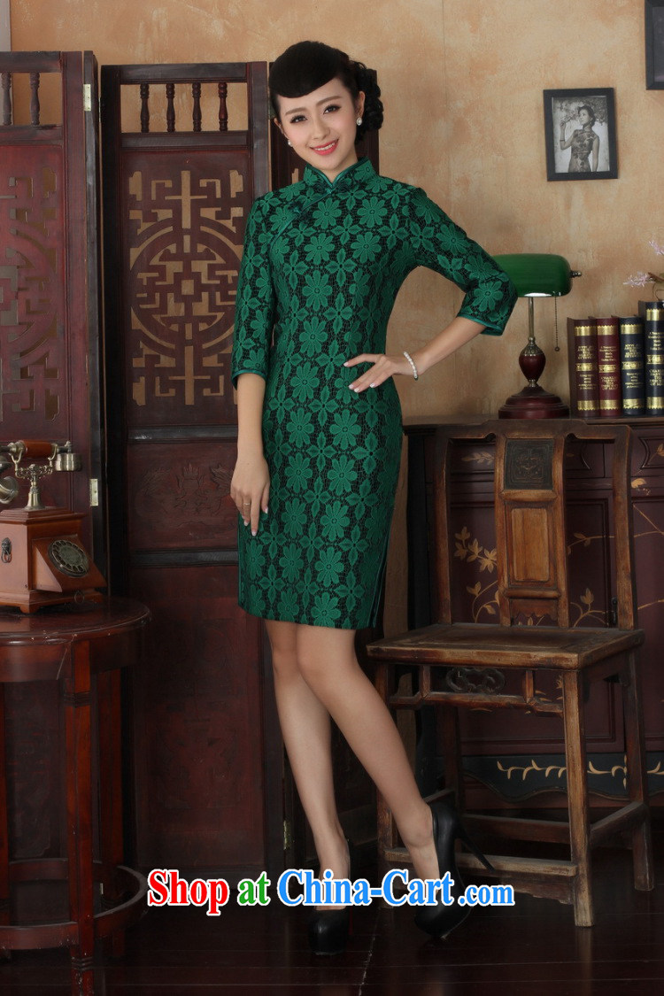 Jessup, new Ethnic Wind Women's clothes, for manually tie lace wool beauty Chinese qipao dresses women 0020 green XXXL pictures, price, brand platters! Elections are good character, the national distribution, so why buy now enjoy more preferential! Health