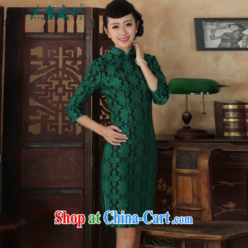 Cheng Kejie, Wiesbaden, new Ethnic Wind female, for manually tie lace wool cultivating Chinese cheongsam dress girls 0020 green XXXL