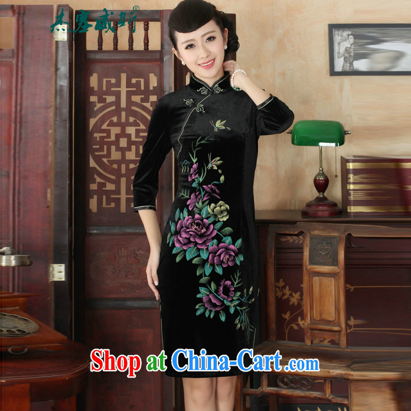 Jessup, new, hand-painted flowers and elegant luxury stretch really scouring pads, for manually-tie Chinese qipao dress black XXXL
