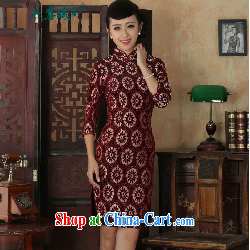 Cheng Kejie, Wiesbaden, new Ethnic Wind female lace, velvet, manually for the buckle cultivating Chinese qipao dresses such as the XXXL