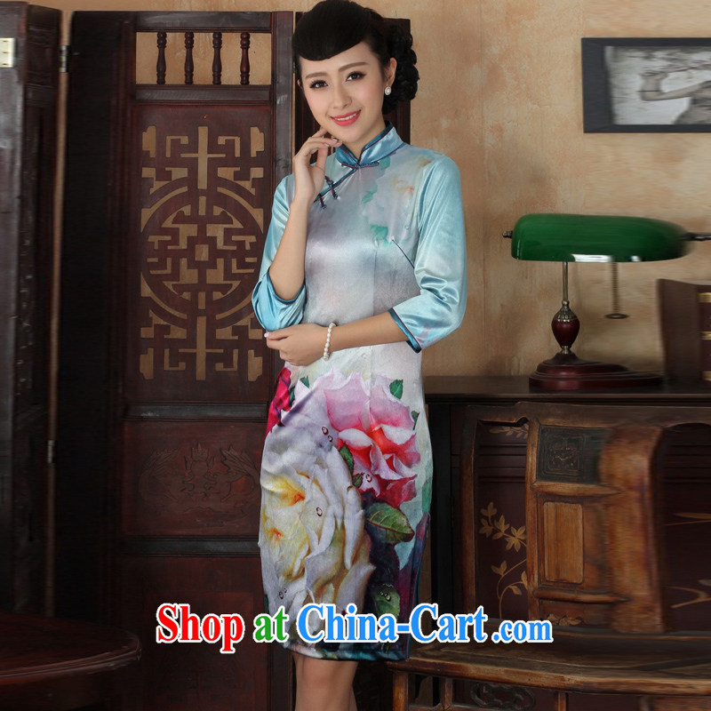 Cheng Kejie, Wiesbaden, new, elegant and classy lady, scouring pads, manually for the buckle Sau San Tong load cheongsam dress female figure XXL