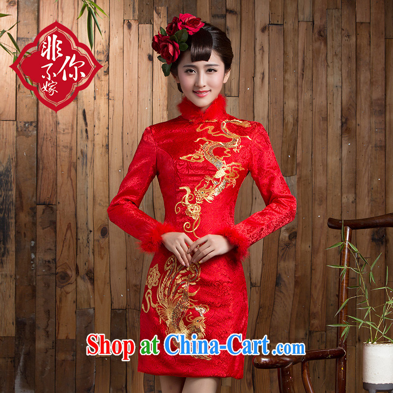 Non-you don't marry 2014 autumn and winter long-sleeved short, improved cheongsam retro short skirts dresses bridal back door red 2 XL