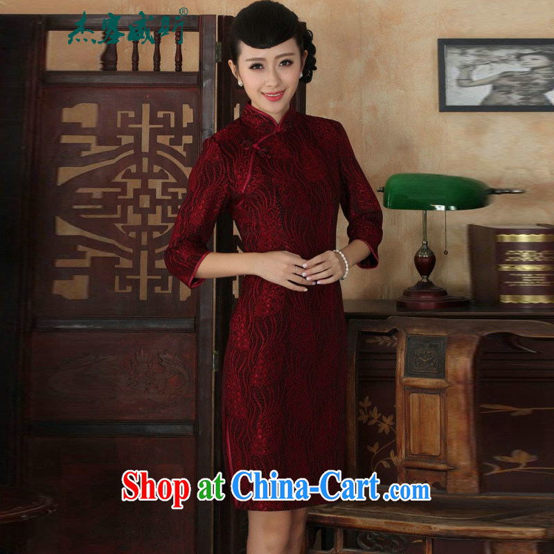 Cheng Kejie, Wiesbaden, new Ethnic Wind female lace, velvet, manually for the buckle Sau San Tong the cheongsam dress female figure XXXL