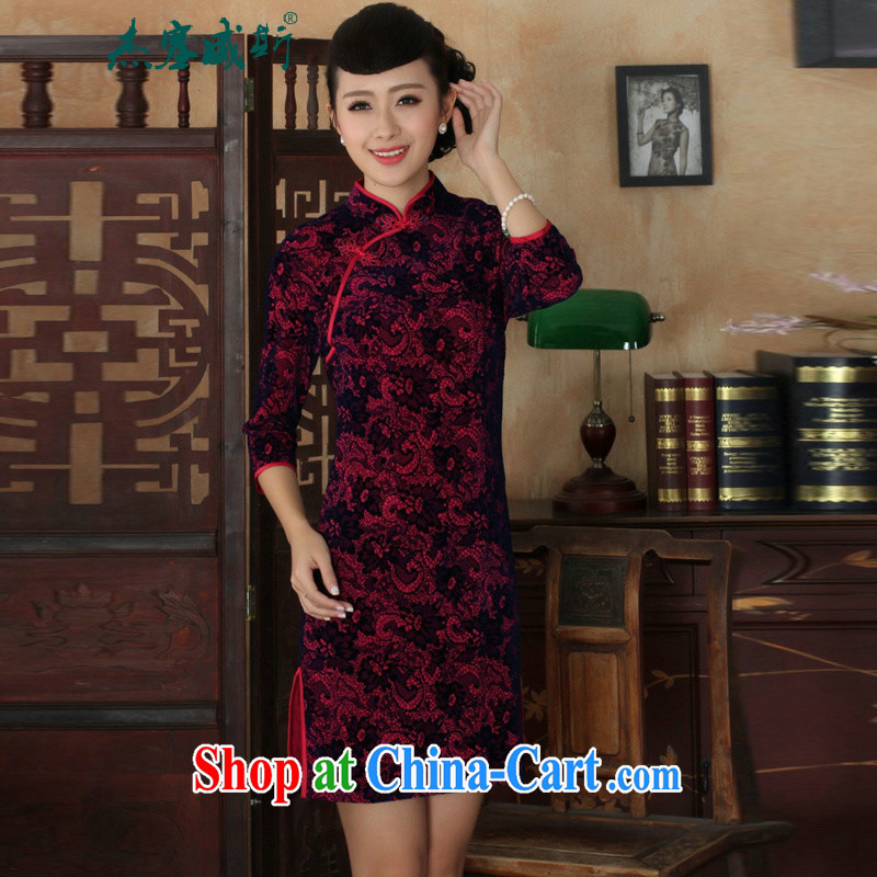 Jessup, new Ethnic Wind women's clothing, wool, cultivating their manual for Chinese cheongsam dress of female Red XXL