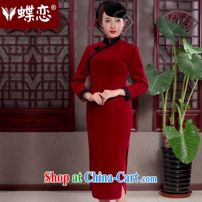 Butterfly Lovers 2015 spring new cheongsam dress stylish improved lace decorated with wool is cultivating skirt 49,110 wine red XXL