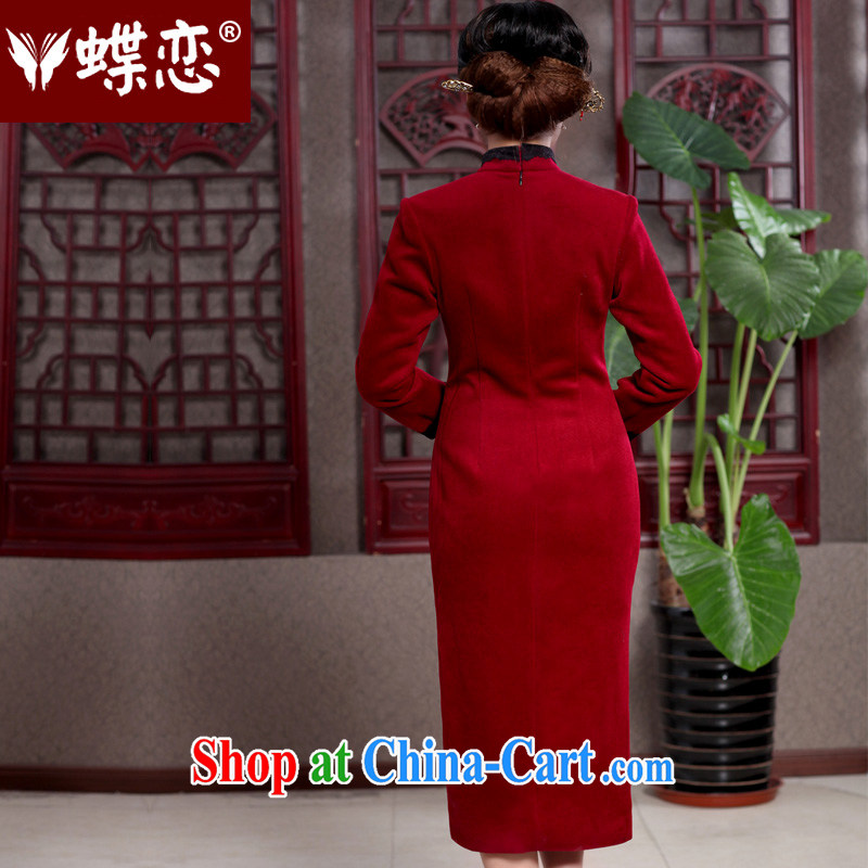 Butterfly Lovers 2015 spring new cheongsam dress stylish improved lace decor wool is cultivating skirt 49,110 wine red XXL, Butterfly Lovers, shopping on the Internet