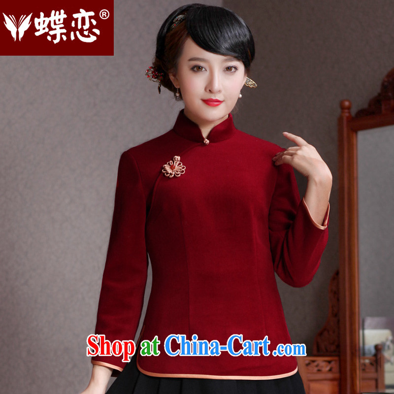 Butterfly Lovers spring 2015 the new, improved cheongsam Chinese beauty T-shirt wool? Short cheongsam 49,111 wine red XXL