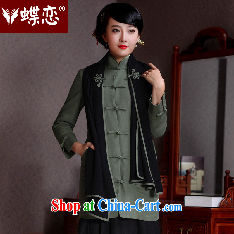 Butterfly Lovers 2015 spring new Chinese wind jacket Ms. Tang fitted T-shirt improved fashion, long quilted coat ice light Jade terrace XXL