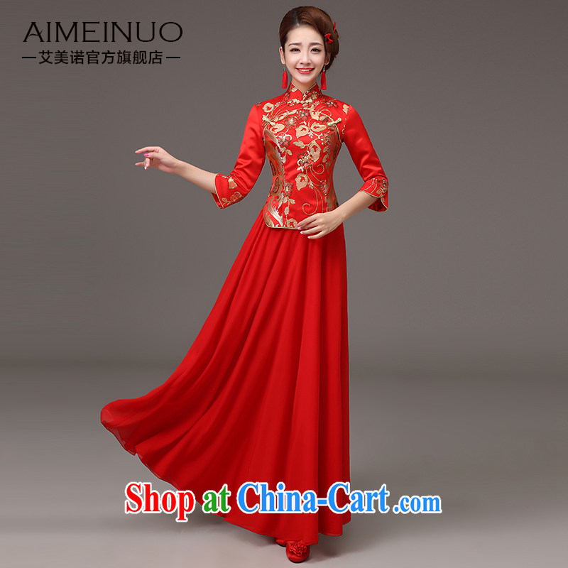 The United States and the cheongsam dress spring 2015, long marriages red bows clothes retro lace, qipao Chinese Dress Q 0036 red XXL