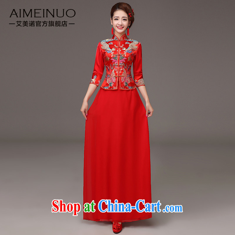 The United States and the cheongsam dress spring 2015, marriages red toast clothing cheongsam embroidered dragon 7 cuff antique Chinese Dress Q XXL 0037