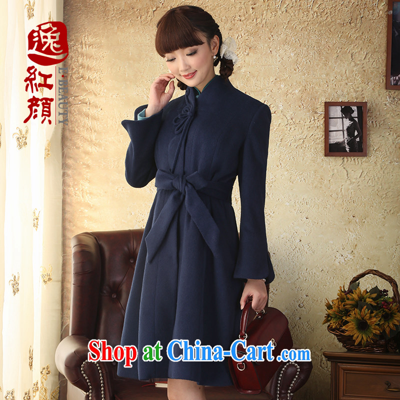 proverbial hero once and for all and quality requirements, autumn wind, Ms. Yi, long, wool, collar coat Ethnic Wind long-sleeved wind jacket Navy M
